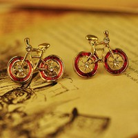 Cute Red Retro Bicycle Earrings