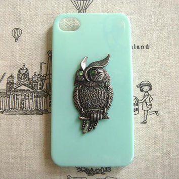 Steampunk Owl Green hard case For Apple iPhone 4 case iPhone 4s case cover