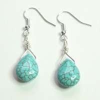 Turquoise Howlite Briolette Wire Wrapped Earrings