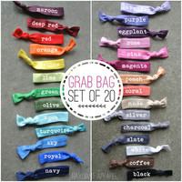 GRAB BAG 20 TIES - hair tie ponytail holders - stretchy no dent no damage fold over elastic ribbon knotted ties
