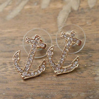 Thin Rhinestone Anchor Earrings - Gold Earrings - Anchors