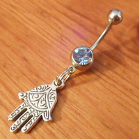 Belly Button Ring - Hamsa Hand with Light Blue Gem Belly button ring