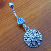 Belly Button Ring - Sand dollar and Light Blue gem Belly Button Ring