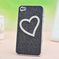 Shiny Heart-shaped Relief Frosted Hard Cover Case for Iphone 4/4s/5 by bestgoods