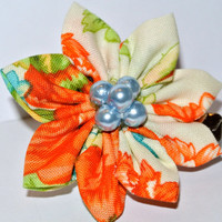 Flower hair accessory- Cream, orange and green flat petal cotton fabric kanzashi hair flower clip