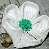 White grosgrain ribbon kanzashi hair flower clip with jade green cabochon center