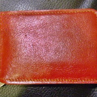 red  leather money clip wallet handmade