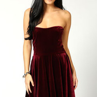 Mandy Strapless Velvet Skater Dress