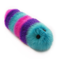 Calypso Stuffed Toy Fuzzy Caterpillar Snuggle Worm Plush Aqua Purple and Hot Pink