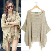 Women&#x27;s Batwing Bat Sleeve Tassels Knitting Knitwear Top Jumper Poncho Sweater