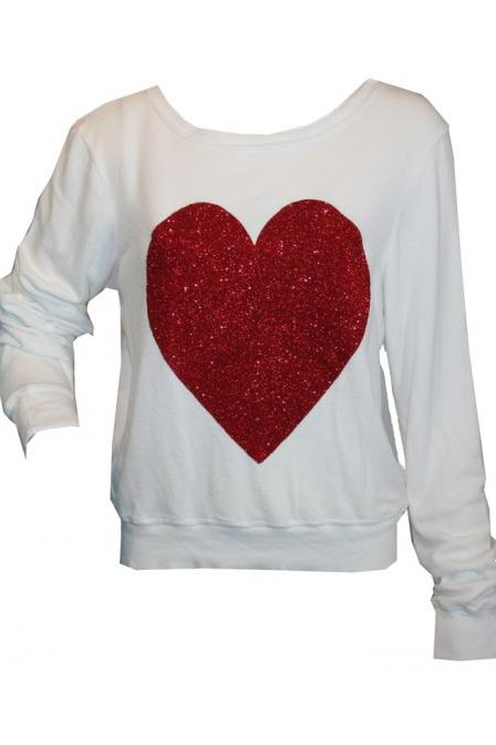 Wildfox Red Sparkle Heart Baggy Beach Jumper in Clean White