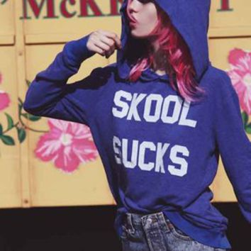 Wildfox Couture Skool Sucks Gypsy Hoodie in Blue Lagoon