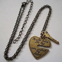 Antiqued Brass Vintage KEY TO MY HEART key and heart Kitsch Pendant Necklace