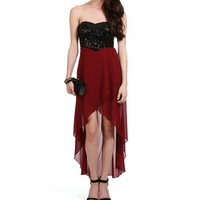 Wine/Black Sequin Strapless Hi Lo Dress