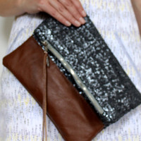 Sequin clutch, charcoal sequin and leather fold over clutch
