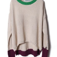 Loose Color Block Jumpers with High Low Detail