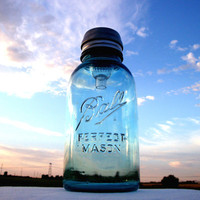 Mason Jar Solar Light Antique Blue Half Gallon Perfect Mason