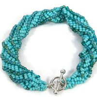 African Helix Stitch Bracelet in Turquoise Mix Czech Seed Beads