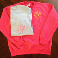 Monogrammed Long Sleeve Pocket T-shirt AND Crewneck Sweatshirt