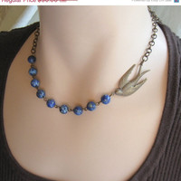 Blue Bird Necklace        Jewelry  plus size   Black Friday Cyber Monday Free Shipping Etsy