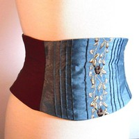 Blue Waist Cincher Corset Belt B by redcurrydesigns on Etsy