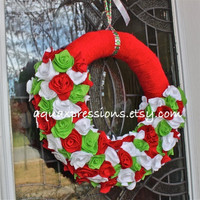 Christmas Wreath /Holiday /Yarn /Felt Flowers /Red/ Green /White /Wall Decor /Made to Order