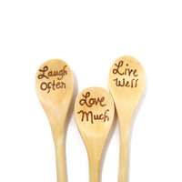 Set of three wood burned kitchen spoons. Great Christmas gift set or Hostess gift.