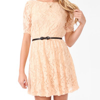 Lace Surplice Back Dress w/ Belt