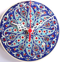 Wall Clock with Anatolian patterns,Ceramic Turkish tile.2012