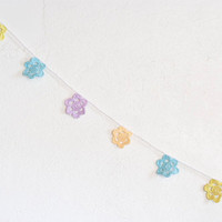 Flower garland, bunting in pastels - crocheted wall decoration or party / wedding decoration