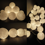 20 White Color Handmade Cotton Balls Fairy String Lights Party Patio Wedding Floor Table or Hanging Gift Home Decoration