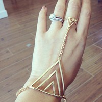 Triangle Bracelet Ring Combo by Papers & Peonies
