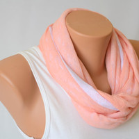 infinity scarf - coral and white lacy jersey infinity scarf double face pink and white loop scarf hand made circle scarf
