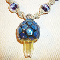 Royal Purple Mushroom Pipe Bead Hemp Necklace - Blown Glass Lampwork Pipe Pendant Hemp Jewelry