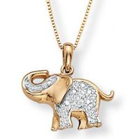 10k Two-tone Gold Diamond Accent Elephant Pendant | Overstock.com