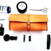 Mens Leather Dopp Kit - Toiletry Shaving Bag - Handmade in America