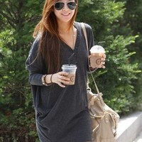 Street Fashion Casual Gray Loose T-shirts : Wholesaleclothing4u.com