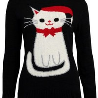 Amazon.com: 68N New Womens Black Cat Knitted Top Ladies Xmas Holiday Winter Jumper: Clothing