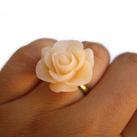 Ring statement pastel peach flower rose resin by JPwithLove