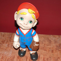 Vintage 1972 Ceramic Baseball Player Little Boy TOM CS '72 Hand painted
