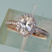 White Sapphire 14k Rose Gold Diamond Halo Engagement Ring September Birthstone Gemstone Engagement Ring