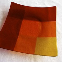 Large Glass Plate in Red Orange and Yellow Plaid by bprdesigns