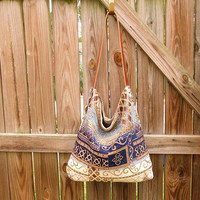 Bohemian Style Hobo Bag w/ Leather Staps