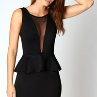 Julia Mesh Front Peplum Dress