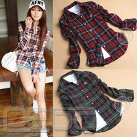 Women Button Down Lapel Shirt Plaids & Checks Flannel Shirts Tops Blouse 4 SIZE