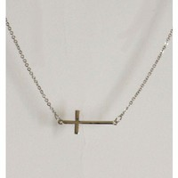 Thin Cross Necklace - Silver