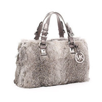 MICHAEL Michael Kors Flurry Rabbit-Fur Satchel, Silver - Michael Kors