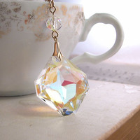 Vintage Swarovski crystal pendant gold filled by shadowjewels