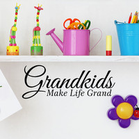 Grandkids Make Life Grand Vinyl Lettering Wall Decal Words phrase for DIy crafts, Sign Boards, a grandparents gifts