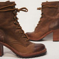 FRYE LUCY LACE UP BROWN LEATHER BOOTS SHOES 9 $287